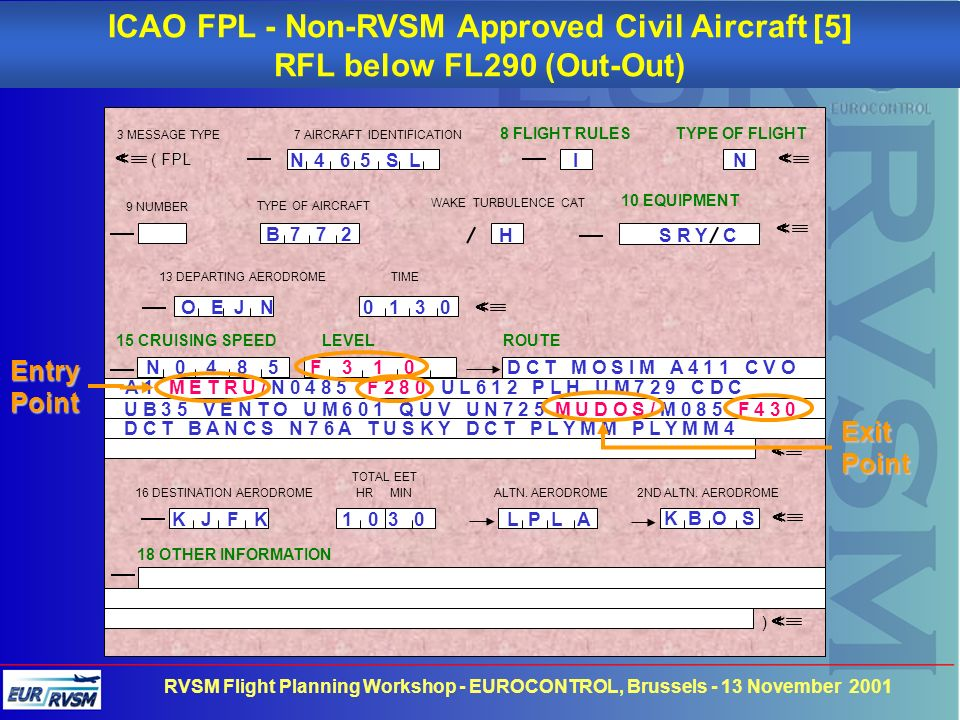 ICAO FPL - Non-RVSM Approved Civil Aircraft [5]